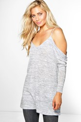 Boohoo Cold Shoulder Marl Knit Jumper Grey