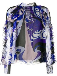 Emilio Pucci Hanami Print High Neck Silk Ruffled Blouse Blue