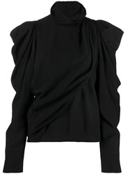 Christophe Lemaire Button Up Draped Roll Neck Top Black