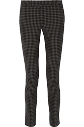 Michael Kors Samantha Gingham Stretch Wool Gabardine Slim Leg Pants Black