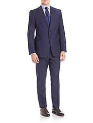 Faconnable Pinstriped Wool Suit Blue