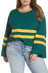 Plus Size Bp. Varsity Stripe Bell Sleeve Tee Green Botanical