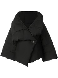 Salvatore Ferragamo Padded Cropped Jacket Silk Feather Down M Black