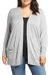 Sejour Plus Size Women's Rib Waist Cardigan Grey Heather
