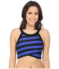 Dkny Iconic Stripe High Neck Top W Removable Soft Cups Electric Women's Swimwear Blue