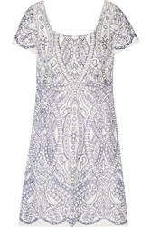 Marchesa Notte Embroidered Cutout Satin Mini Dress White