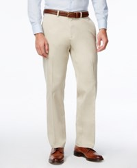 Haggar Men's Premium Straight Fit Non Iron Stretch Flat Front Pants Sand