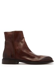 Paul Smith Billy Zipped Leather Boots Brown
