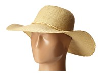 Scala Bangkok Toyo Big Brim With Wood Bead Trim Natural Caps Beige