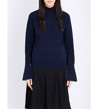 Izzue Buttoned Cuff Knitted Jumper Navy