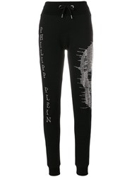 Philipp Plein Sequin Skull Track Trousers Black