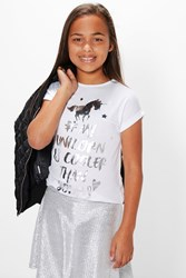Boohoo Unicorn Tee White