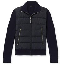Tom Ford Slim Fit Panelled Ribbed Wool And Quilted Shell Down Jacket Blue