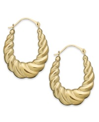 Macy's 10K Gold Earrings Oval Swirl Hoop Earrings