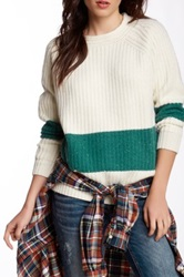 Trovata Chunky Ribbed Crew Neck Sweater Green