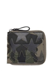 Valentino Leather Stars And Canvas Zip Around Wallet