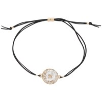 Ted Baker Kora Swarovski Crystal Button Cord Bracelet Black Rose Gold