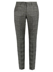 Gucci Mid Rise Tartan Wool Trousers Grey Multi