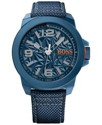 Hugo Boss Men's New York Blue Fabric Strap Watch 50Mm 1513353