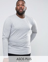 Asos Plus Long Sleeve T Shirt With Crew Neck Grey Marl