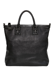 Dolce And Gabbana Zipped Grained Leather Shopping Bag Black