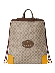 Gucci Gg Supreme Drawstring Backpack Unisex Cotton Leather Brass Canvas Nude Neutrals