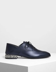 Charles And Keith Faceted Lucite Heel Leather Oxfords Dk.Blue