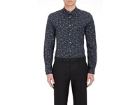 Paul Smith Ps By Men's Abstract Paisley Poplin Shirt Black