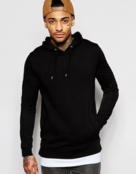 Asos Hoodie With Quilted Sleeves And T Shirt Hem Black