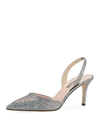Sarah Jessica Parker Bliss Metallic Mesh Net Evening Pump Silver