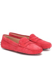 Tod's Gommino Suede Loafers Red