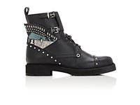 Fendi Women's Buggies Eye Leather Combat Boots Dark Grey