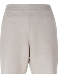 Ilaria Nistri Suede Panel Shorts Nude And Neutrals