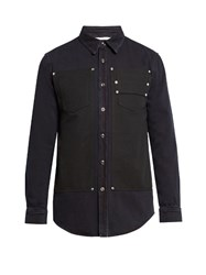 Givenchy Stud Embellished Bi Colour Denim Shirt