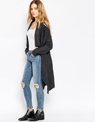 Brave Soul Ribbed Chunky Open Knit Cardigan Charcoalmarl
