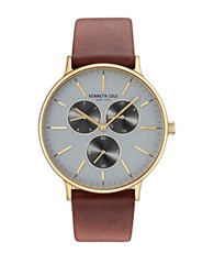 Kenneth Cole Round Blue Dial Watch Brown