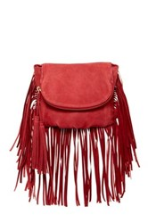 Cynthia Vincent Autumn 2 Leather Fringe Crossbody Red