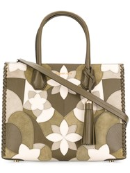 Michael Michael Kors Floral Mercer Tote Women Leather One Size Green