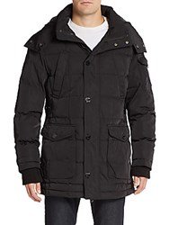 Jetlag Faux Fur Trimmed Hooded Puffer Coat Black