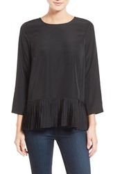 Women's Kensie Pleat Hem Woven Top Black