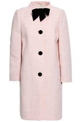 Kate Spade Ma Cherie Bow Embellished Cotton Blend Tweed Coat Baby Pink
