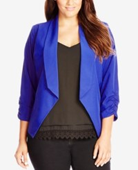 City Chic Plus Size Ruched Sleeve Open Front Blazer Lagoon