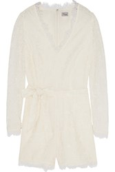 Temperley London Coco Cotton Blend Lace Playsuit White