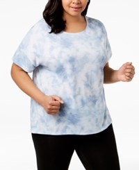 Ideology Plus Size Crisscross Back Top Blue Wash
