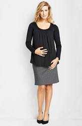 Women's Maternal America Chiffon Knit Maternity Top Black