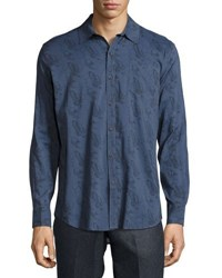 Billy Reid Arthur Bird Print Shirt Dark Blue