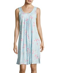 Miss Elaine Rose Print Pleated Night Gown Blue Floral