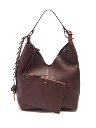 Anya Hindmarch The Bucket Small Leather Shoulder Bag Burgundy Multi