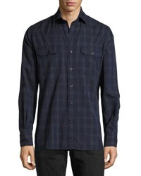 Tom Ford Plaid Cotton Military Shirt Navy