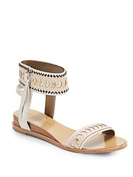 Cynthia Vincent Fayette Leather Ankle Strap Sandals Nude Multi